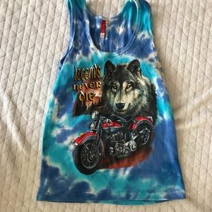 Exist Tie dye wolf graphic tank top size large